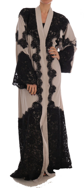 Beige Black Ricamo Kaftan Abaya Dress