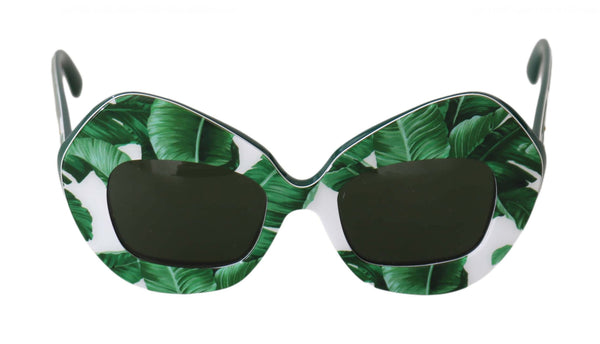 Green DG4290 Banana Leaves Pattern Rectagle Sunglasses