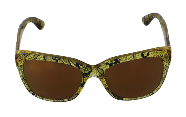 Yellow Transparent Lace DG4226 Butterfly  Sunglasses