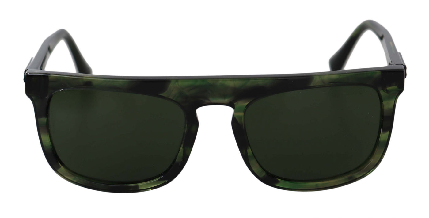 Green Rectangle DG4288 Black Pattern Logo Sunglasses