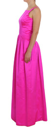 Pink Silk Long Sheath Ball Gown Dress