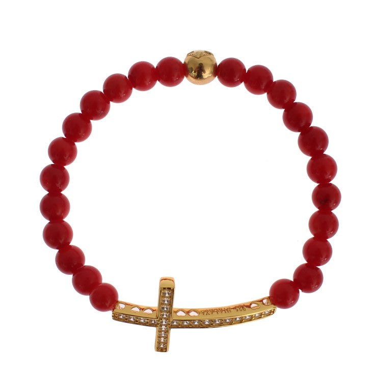 Red Coral Gold CZ Cross 925 Silver Bracelet