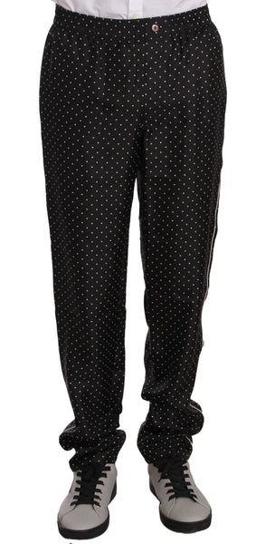 Black Dotted Silk Lounge Sleepwear Pants
