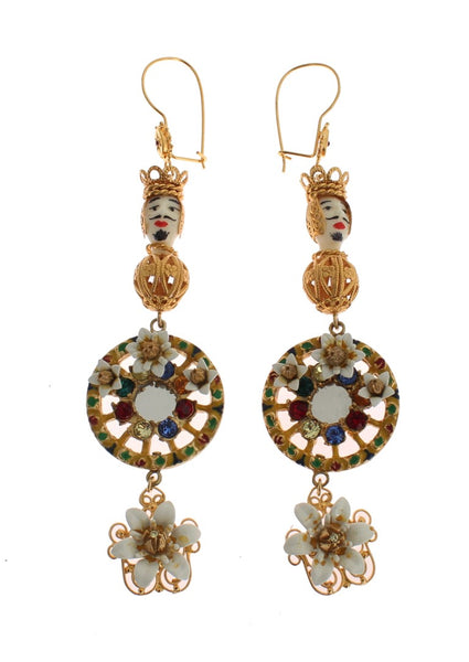 Crystal Gold Cart Wheel Pupi Doll Dangling Hook Earring