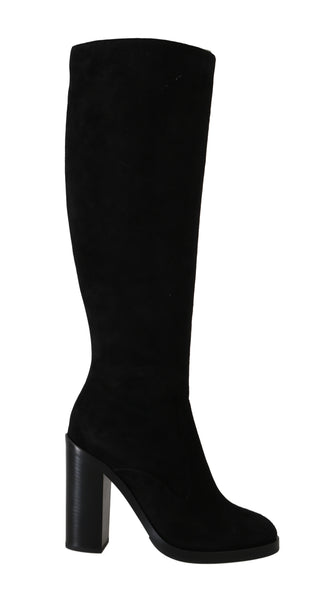 Black Suede Leather Knee High Boots