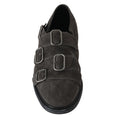 Gray Wash Leather Buckle Monkstrap Shoes