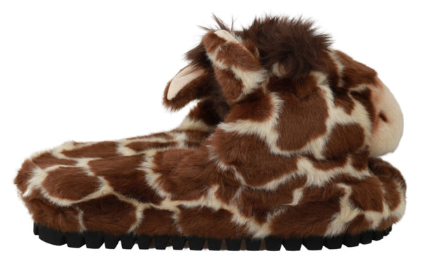 Brown Giraffe Slippers Flats Sandals Shoes
