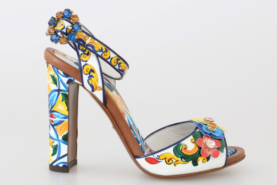Multicolor Majolica Leather Crystal Shoes