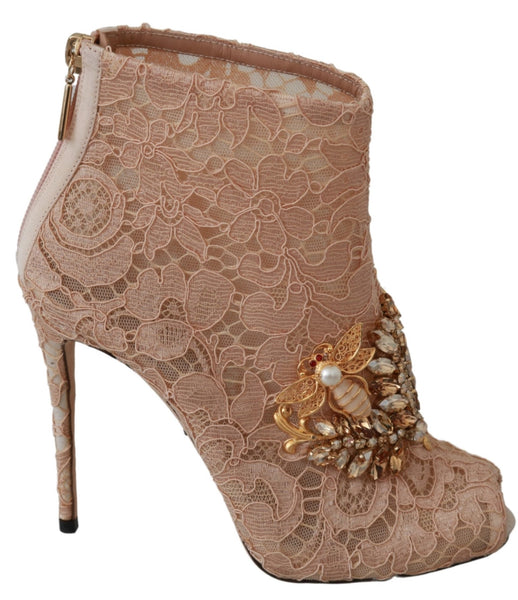 Pink Crystal Lace Booties Stilettos Shoes