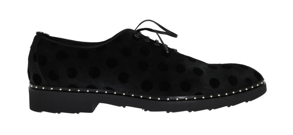 Black Polka Dotted Pony Hair Shoes