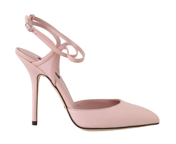 Pink Leather Iguana Pattern Pumps