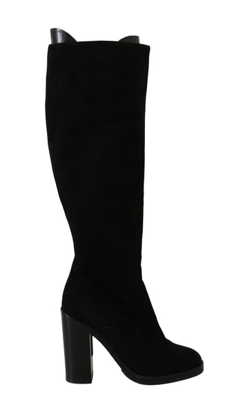 Black Suede Goatskin Knee High Boots