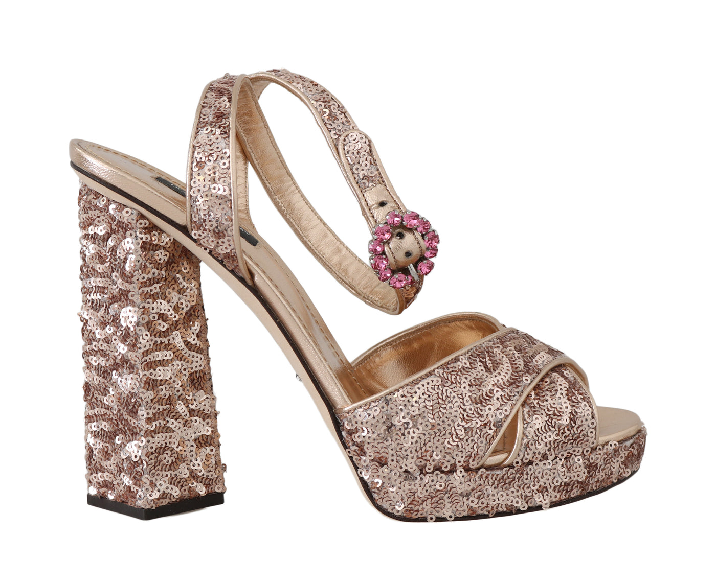 Gold Leather Sequined Crystal Sandals