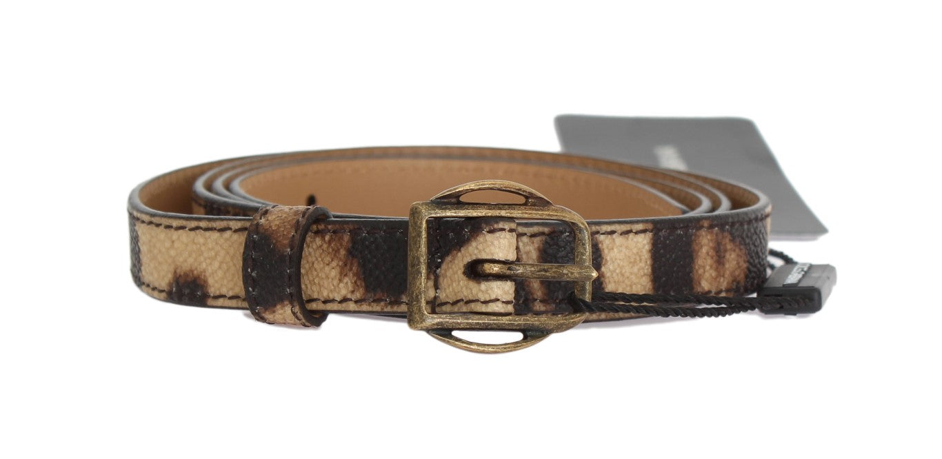 Dolce & Gabbana Brown Leopard Gold Buckle Belt