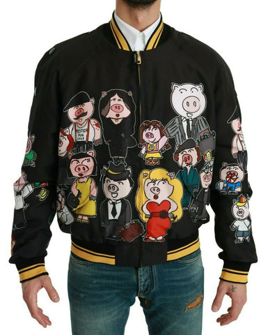 Black YEAR OF THE PIG Bomber Jacket