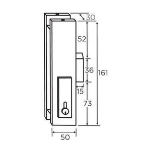 Center Lock Glass Door Patch - Stainless - QIC Ironmongery