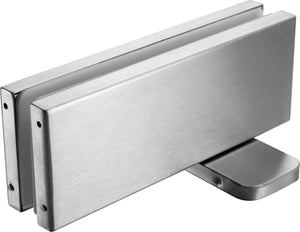 Glass Door Hydraulic Patch Set Heavy Duty - Brushed Stainless - QIC Ironmongery