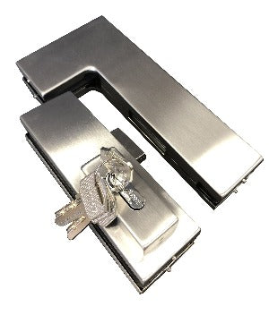 Glass Door Over Connector Patch & Lock Set - Stainless Brushed - QIC Ironmongery