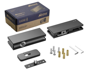 Glass Door Hydraulic Patch Set - Black Matte - QIC Ironmongery