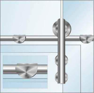 Glass Sliding Door System - Tube Bracket - QIC Ironmongery
