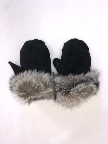 SUEDE & SILVER FOX MITTS - WOMEN