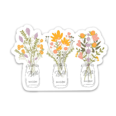 Floral Mason Jar Sticker