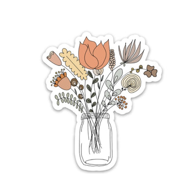 Mason Jar Floral Bouquet Sticker - swaygirls