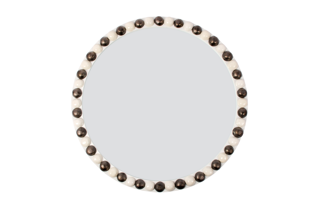 25-Inch Round Irish Mirror in Gloss White with Matte Bronze and Clear Buttons