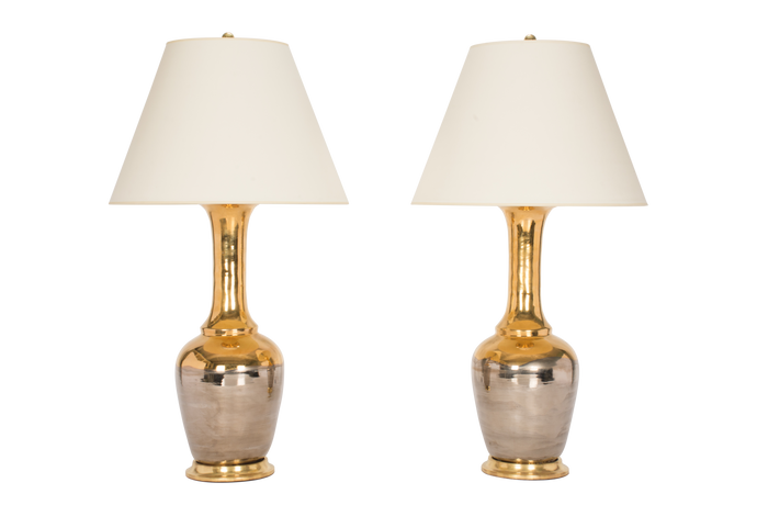 Alex Lamp Pair in Mixed Luster