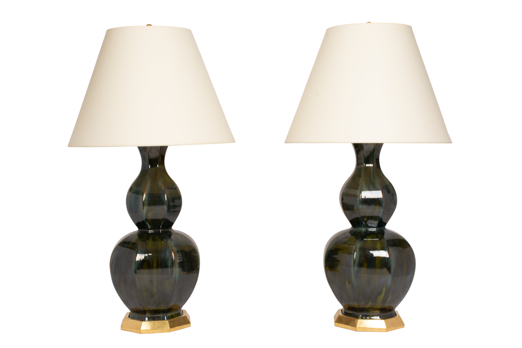 Alexander Large Lamp Pair in Alligator Green