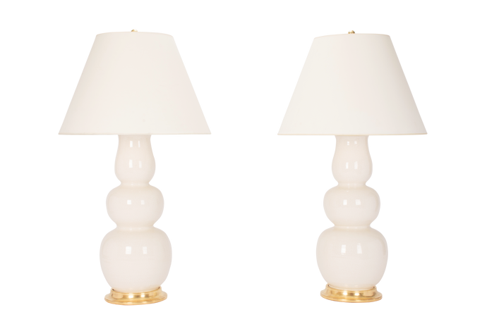 Allen Lamp Pair in Tea Stain Crackle