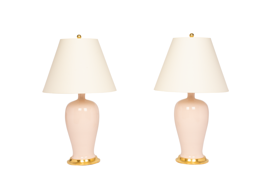 Amy Lamp Pair in Blush Pink