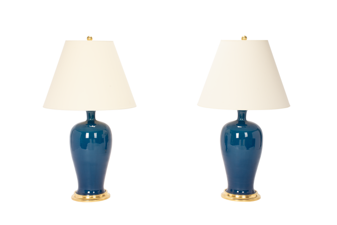 Amy Lamp Pair in Prussian Blue