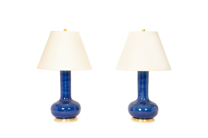 Ashley Large Lamp Pair in Sapphire Blue