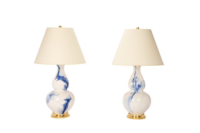 Aurora Lamp Pair in Delft Blue Marble