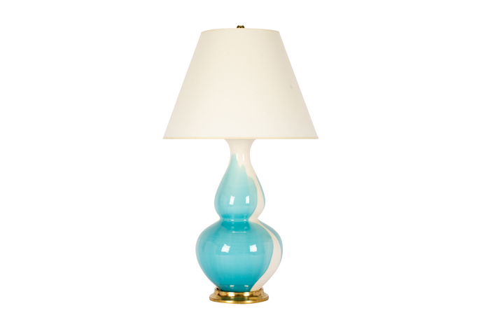 Aurora Lamp in Light Blue Crackle Drip