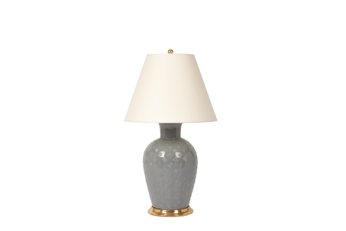 Basket Weave Lamp in Blue Grey