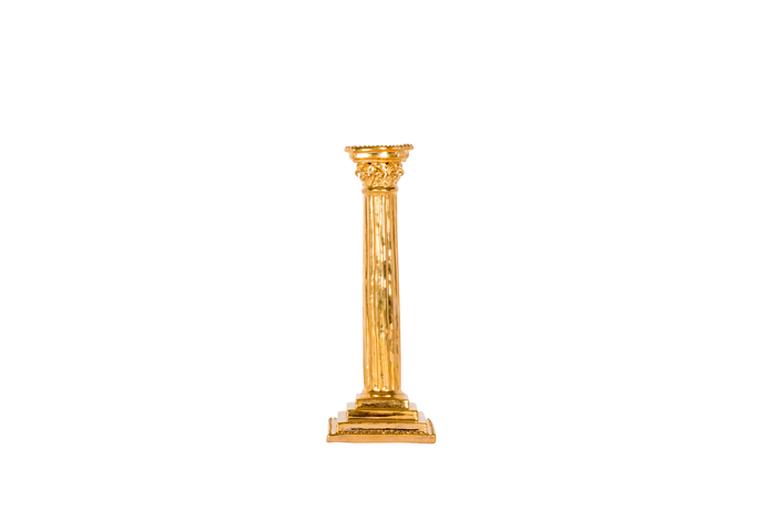 Corinthian Column Candlestick in Gold Luster