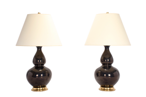 Custom Double Gourd Lamp Pair in Blue Green Mirror