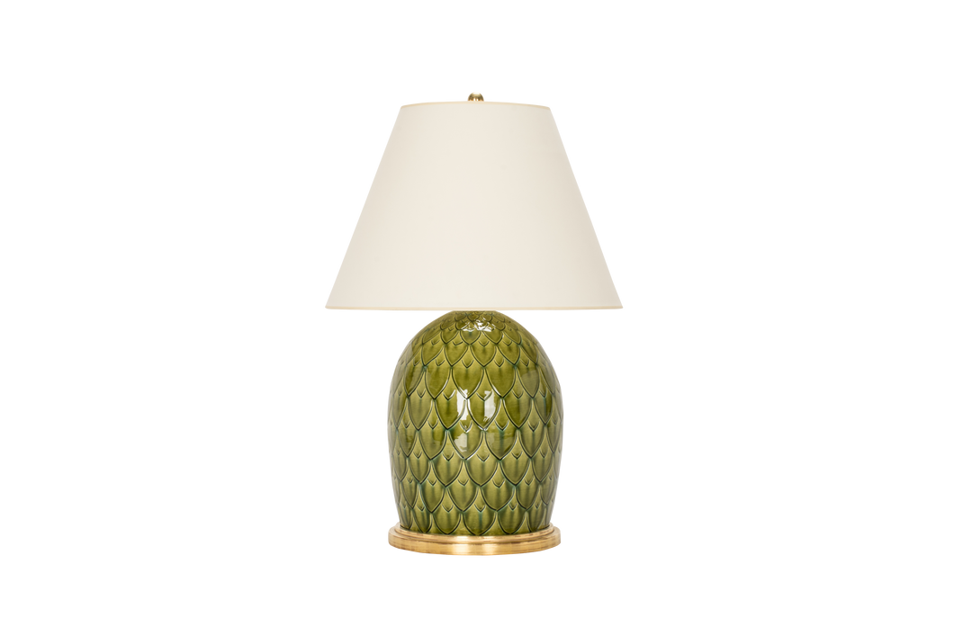 Artichoke Lamp in Spruce with Prussian Blue Inlay