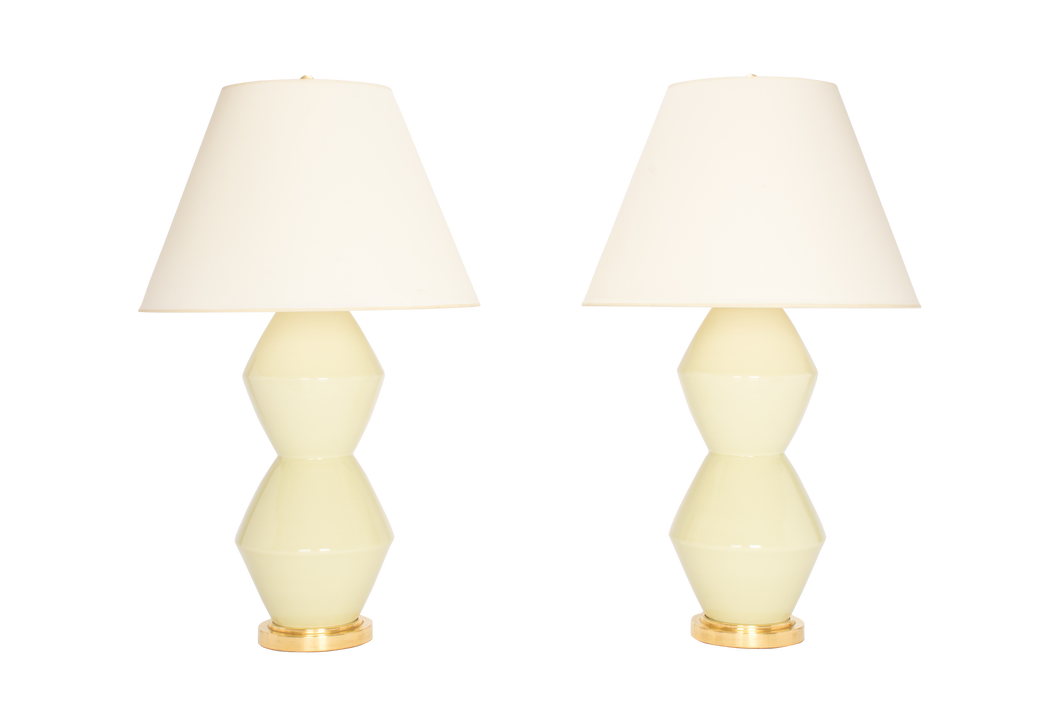 David Large Lamp Pair in Green Celadon