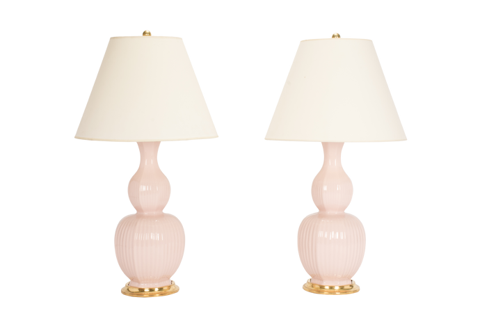 Delft Lamp Pair in Blush Pink