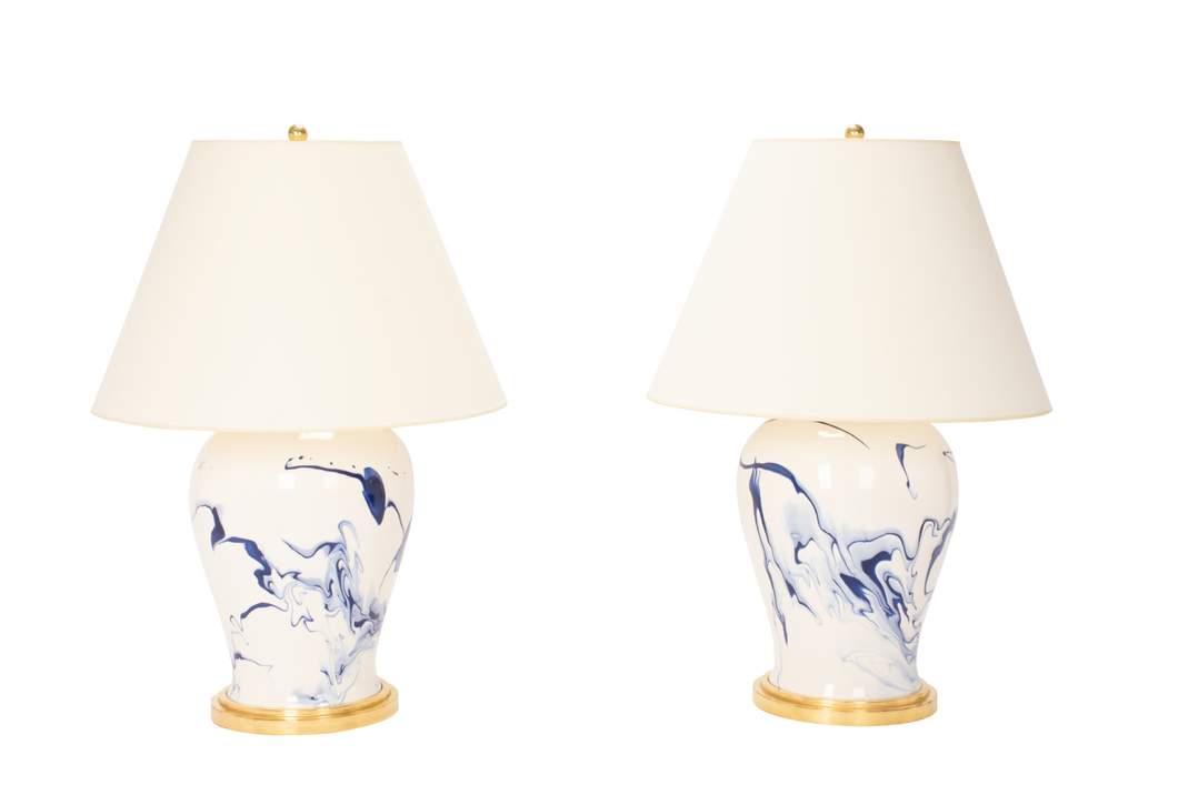 Karen Lamp Pair in Delft Blue Marble
