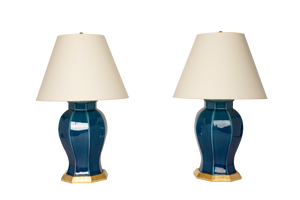 Dennis Lamp Pair in Prussian Blue