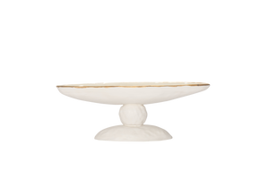 Diego Tazza in Matte White and Gold Luster - 16""