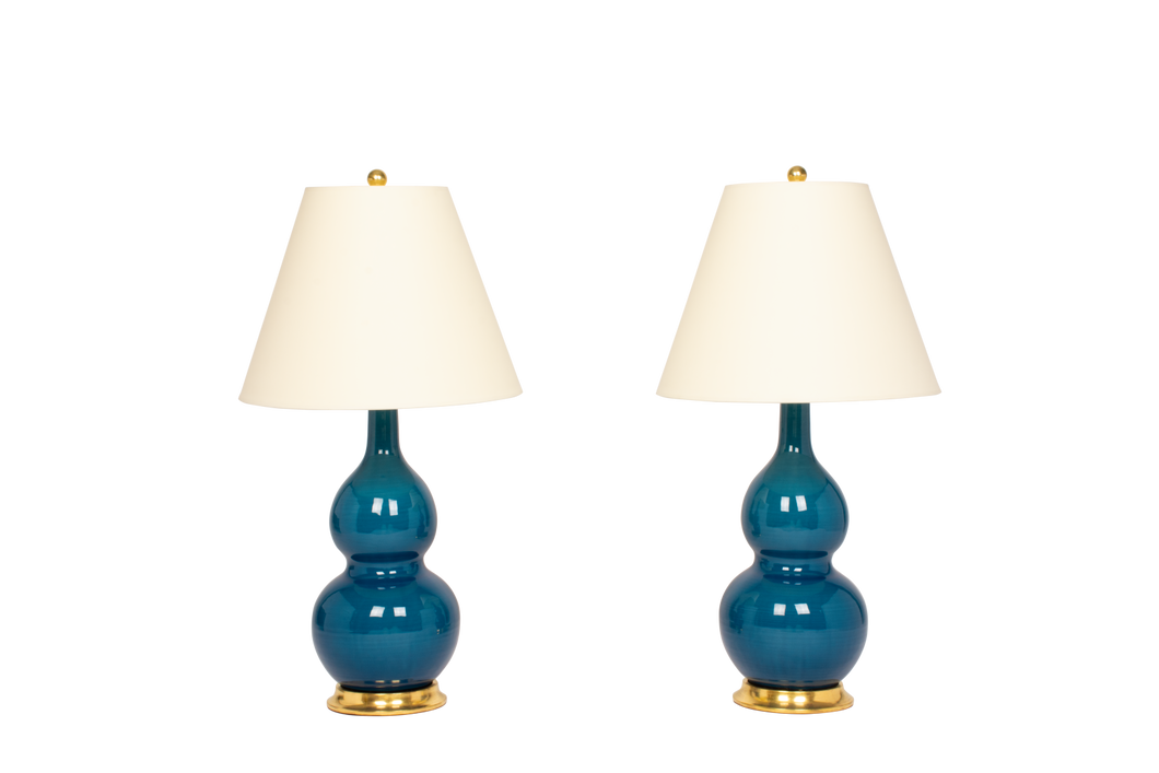 Double Gourd Medium Lamp Pair in Prussian Blue