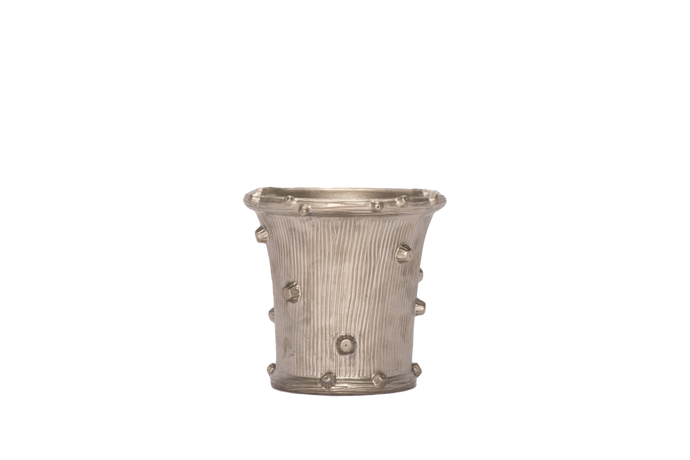 Medium Faux Bois Cache Pot in Platinum Luster Without Handles
