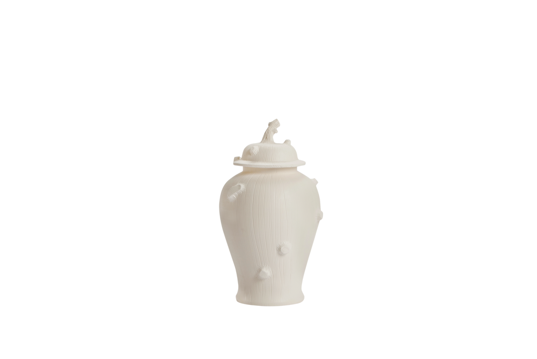 Faux Bois Ginger Jar with Lid in Matte White