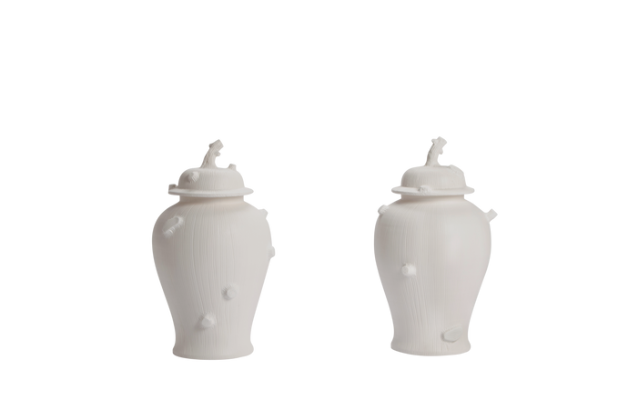 Pair of Faux Bois Ginger Jars with Lids in Matte White