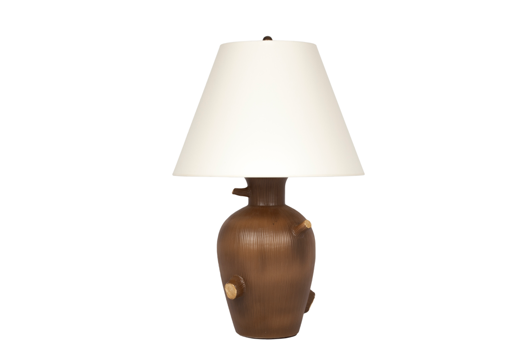 Faux Bois Lamp in Matte Brown